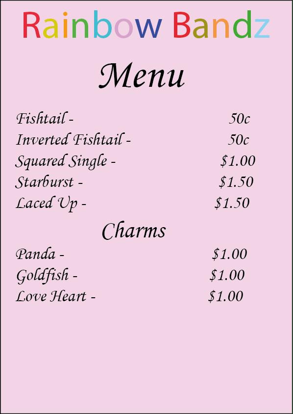 rainbow bandz menu